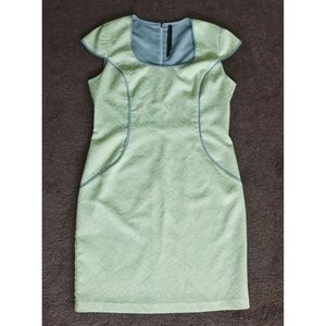 Andrew Marc Light Green Dress with Gray Piping